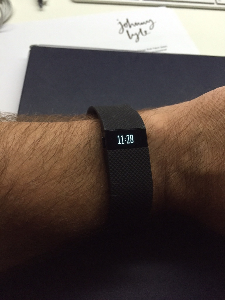 Fitbit Charge HR showing the time