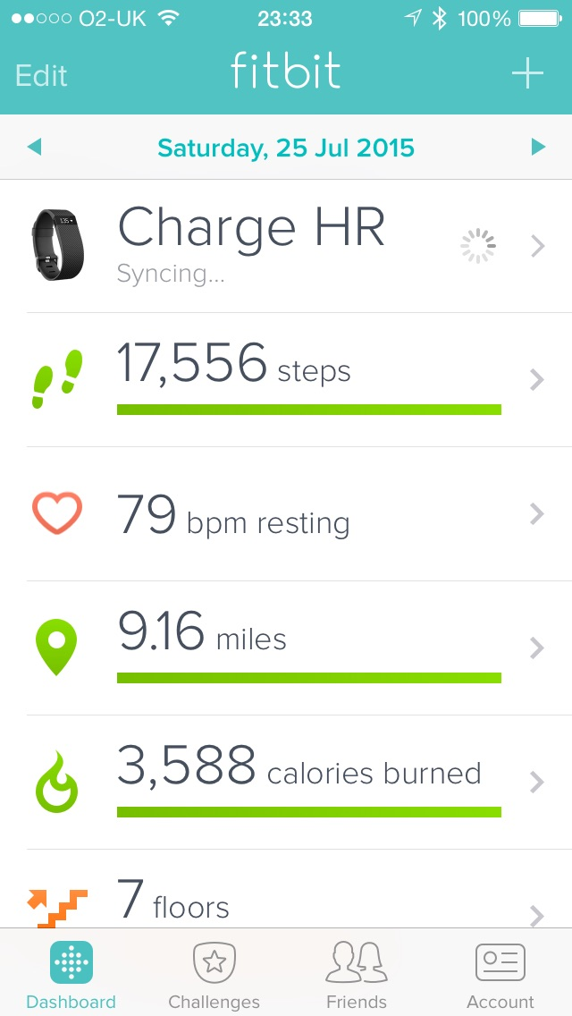 The App Screen on iphone 6 for Fitbit Charge HR