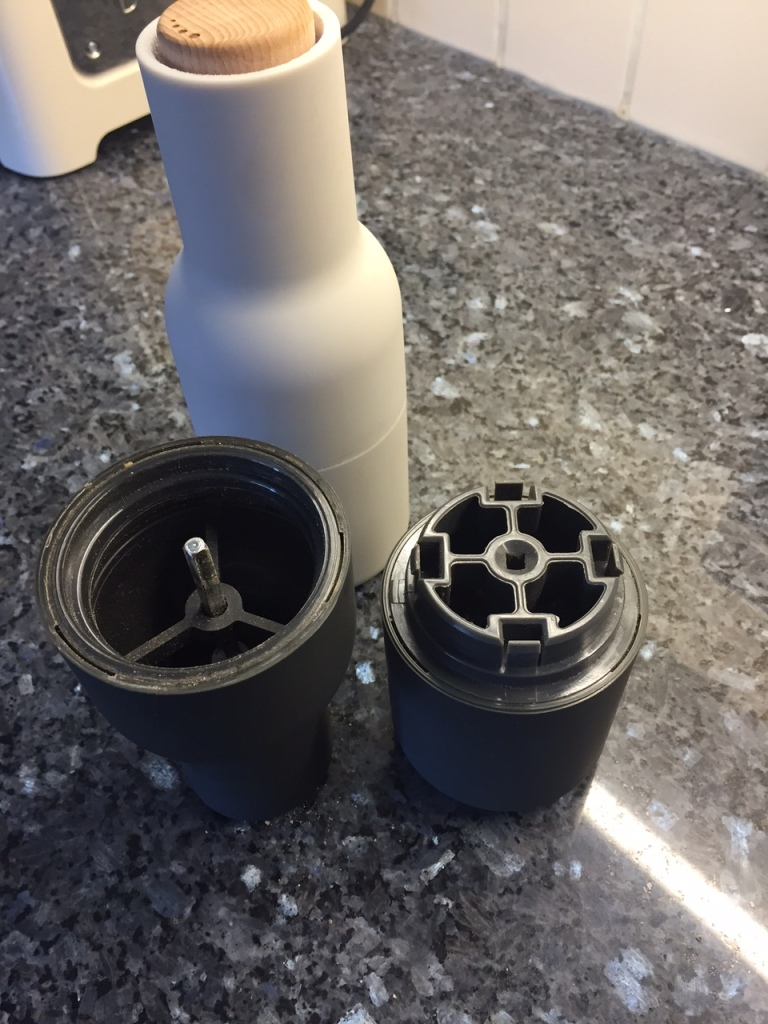 Salt and Pepper grinder by Menu showing inside detail