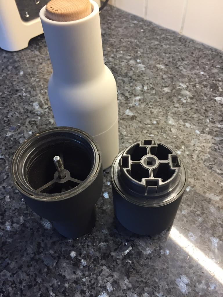 Salt and Pepper grinder by Menu showing inside detail