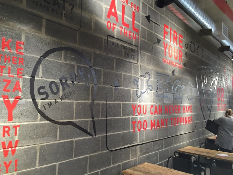 Graffiti walls at Inferno Pizza Nottingham